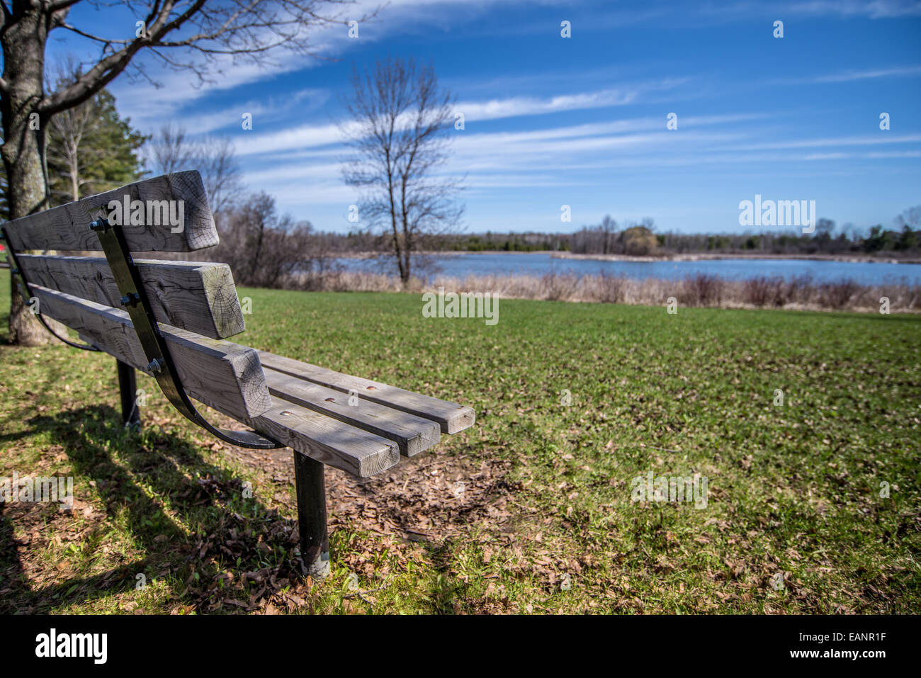 Marvelous An Empty Wood Park Bench Over Looks The Water On A Blue Sky Ibusinesslaw Wood Chair Design Ideas Ibusinesslaworg