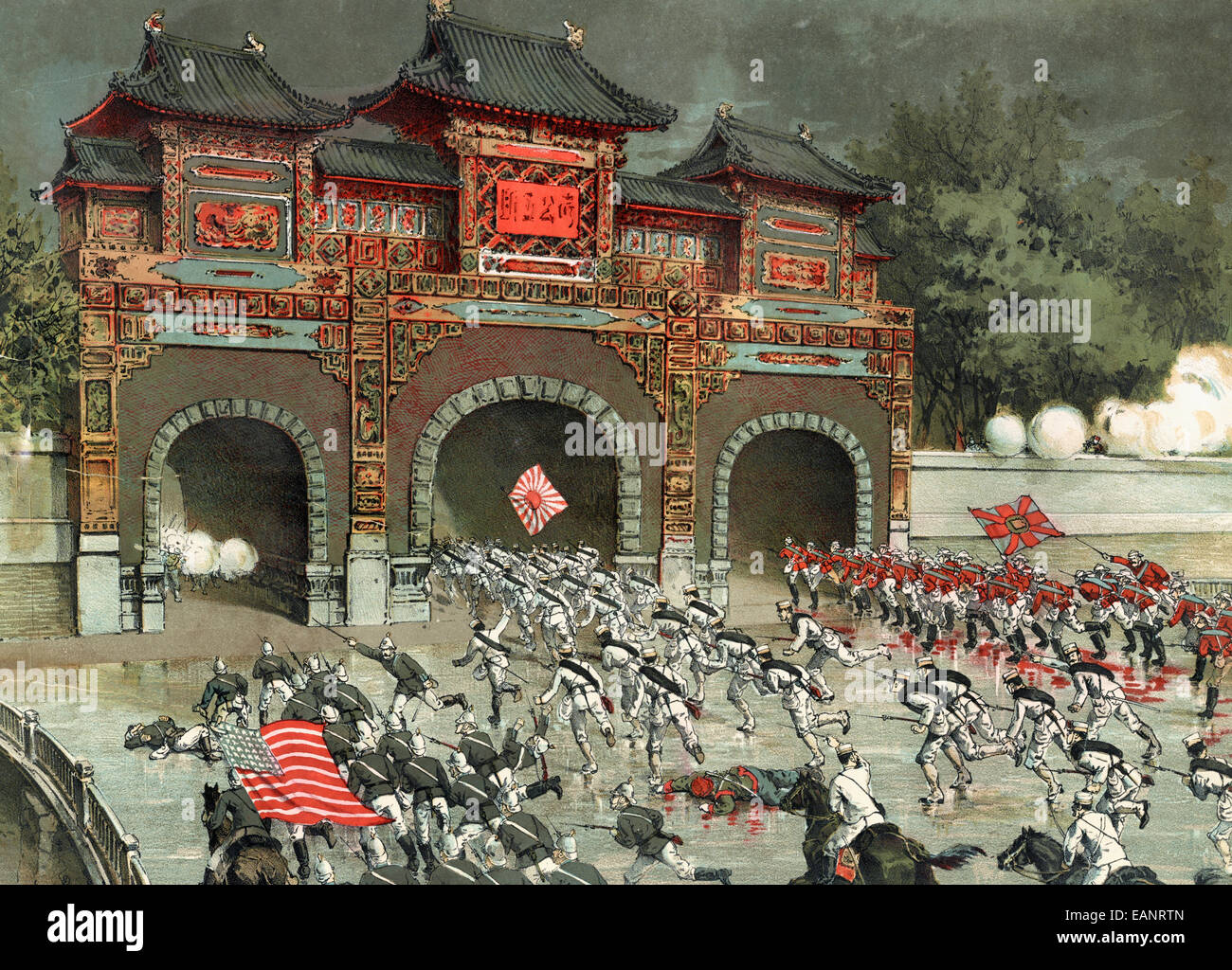 The Allied Armies launch a general offensive on Pekin Castle -  American, British, and Japanese troops storming - Stock Image