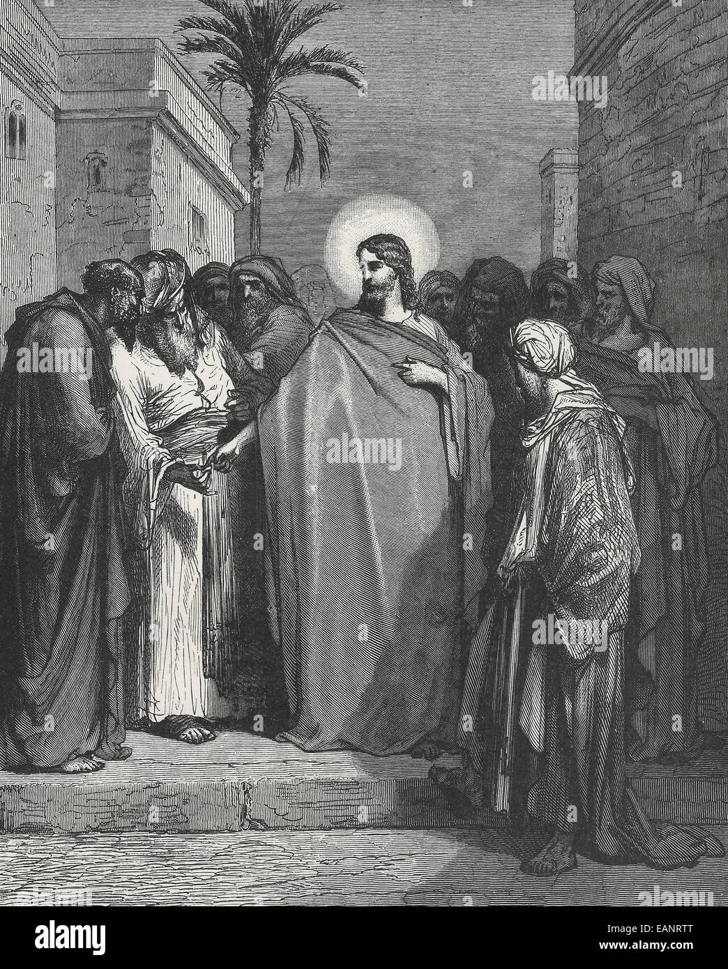 Render unto Caesar what is Caesar's and to God what is God's.  Jesus with the Pharisees - Stock Image