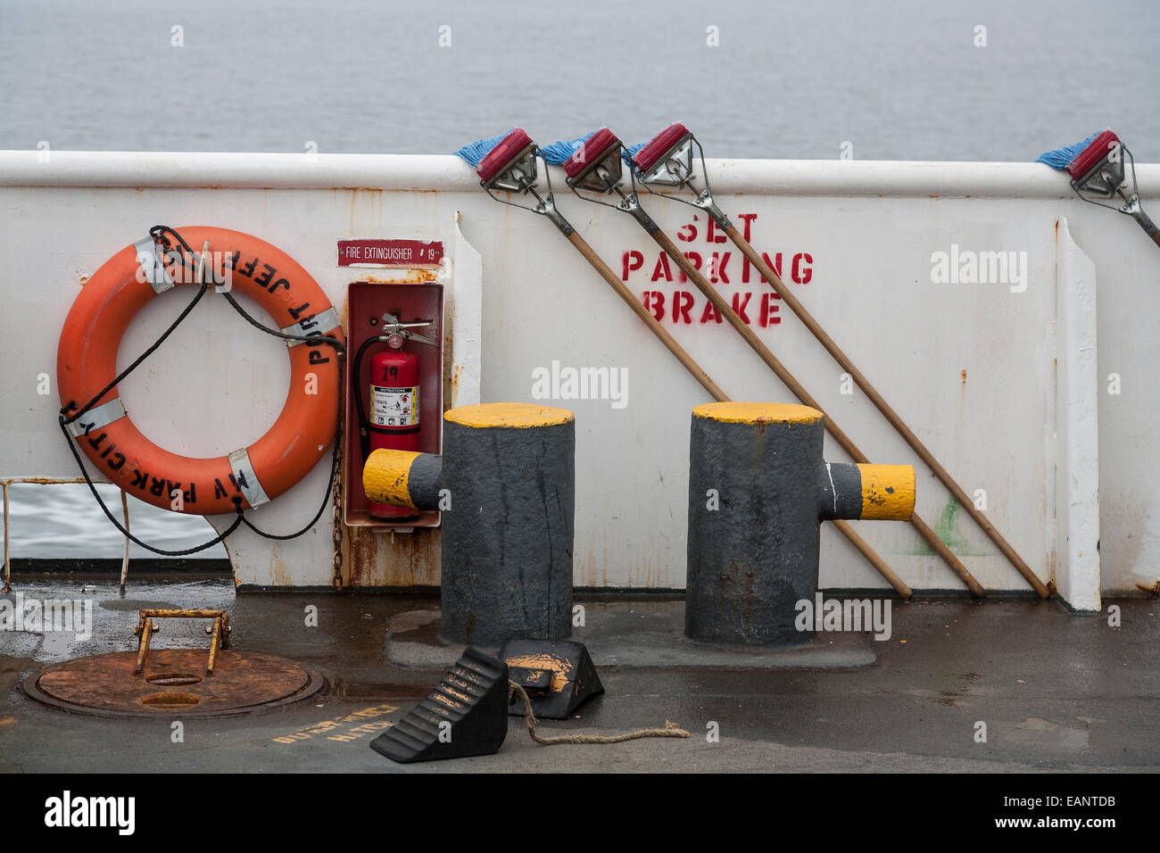 Mops and deck equipment on Port Jefferson to Bridgeport ferry - Stock Image