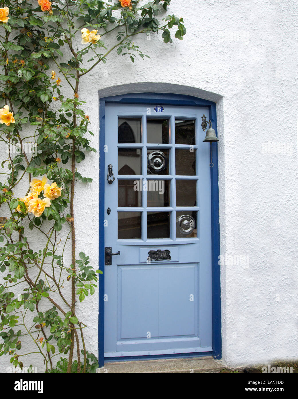 Pale blue cottage door with gleaming glass surrounded by white walls u0026 climbing roses with yellow flowers in Welsh village & Pale blue cottage door with gleaming glass surrounded by white walls ...