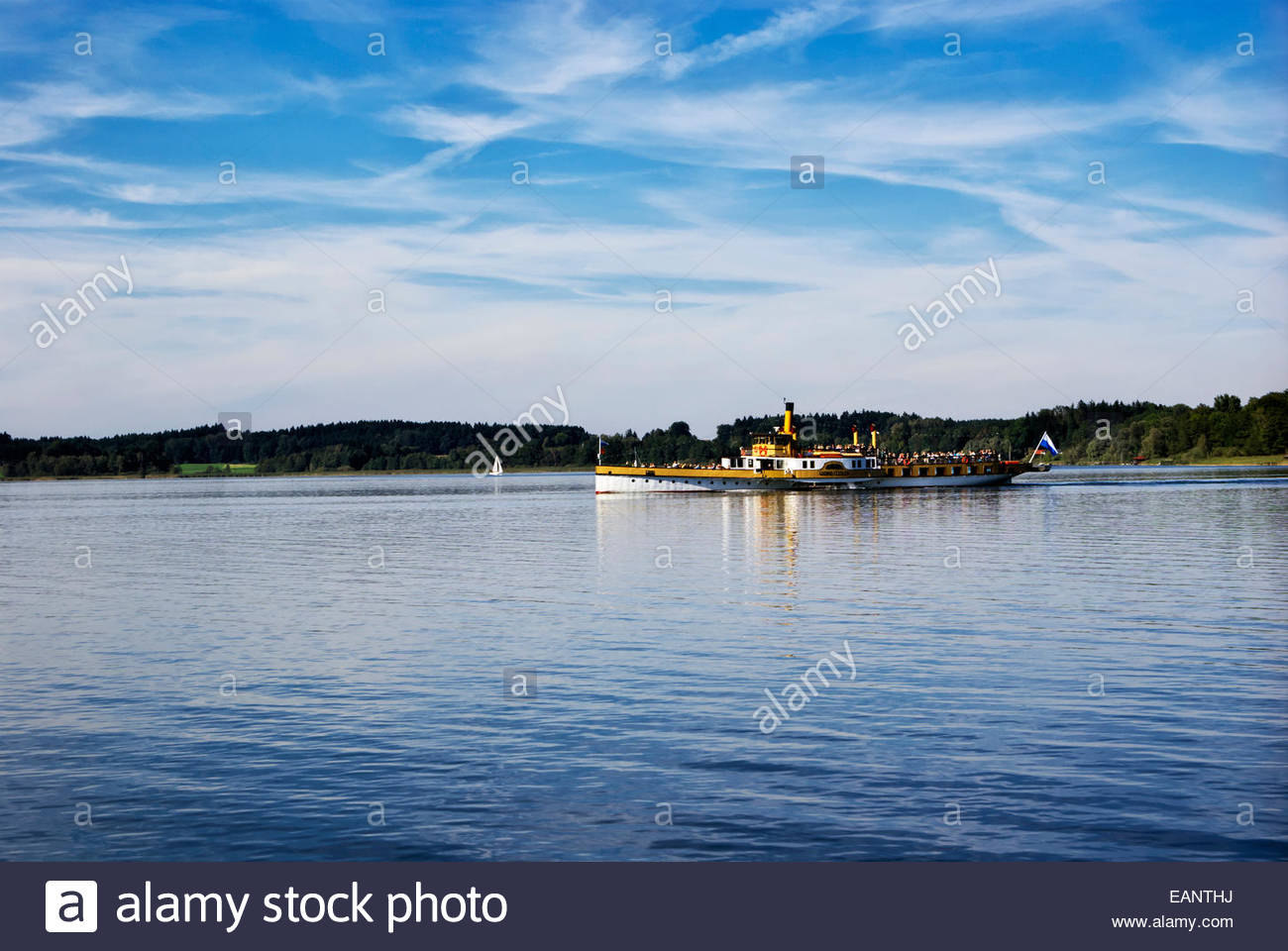 Chiemsee-Schifffahrt Ludwig Feßler (Fessler) KG can be seen traversing the Chiemsee 365 days a year. - Stock Image