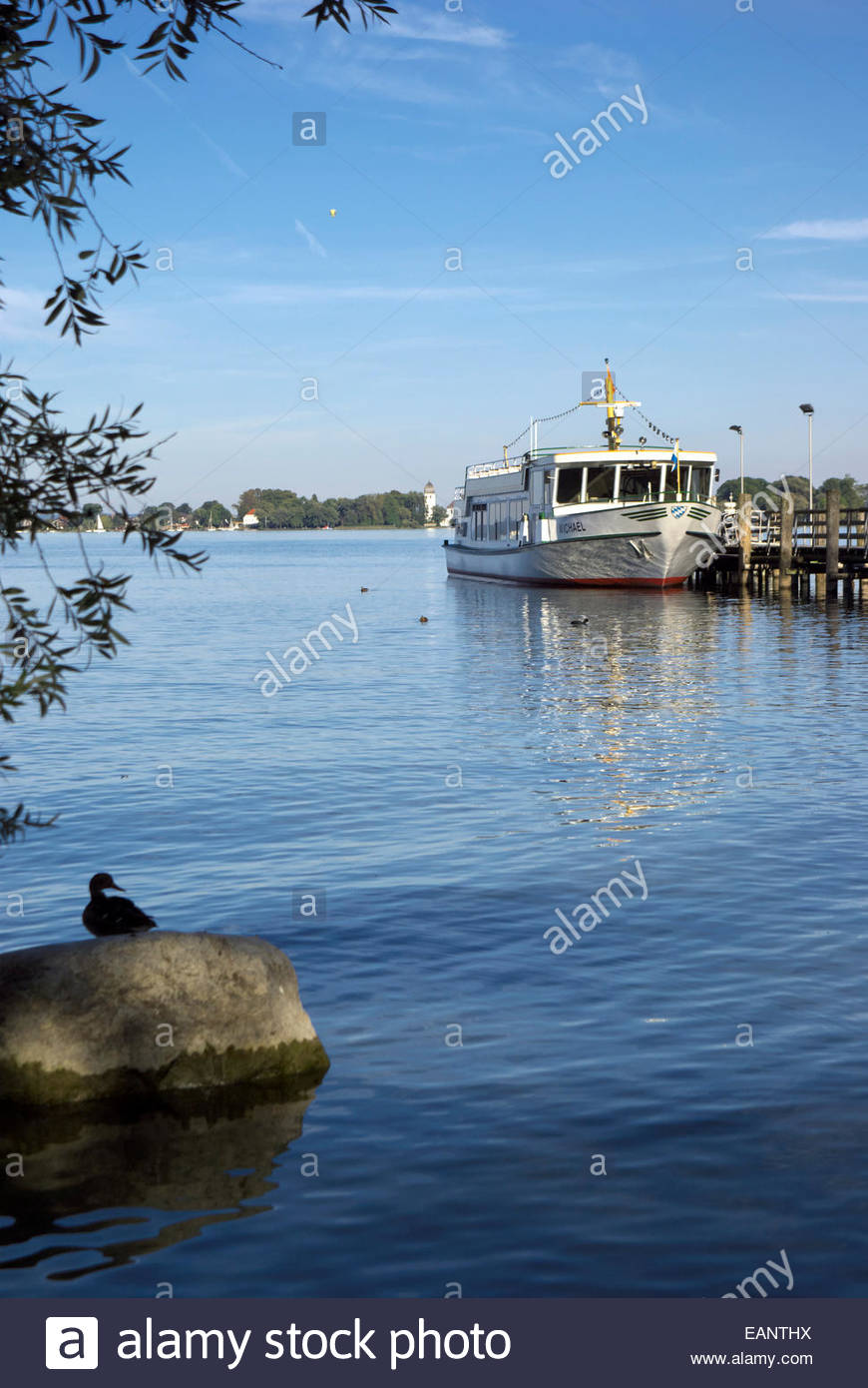 The excursion ship Michael awaits passengers for a trip to Herreninsel, an island in the Chiemsee, AKA Bavarian - Stock Image