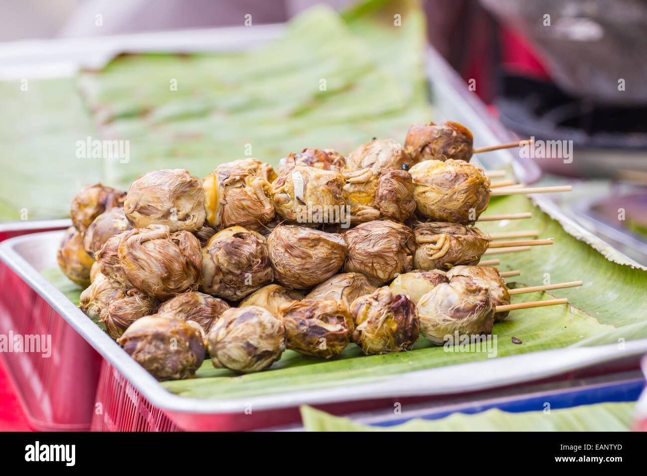 grilled egg spoiled while being incubated, thai traditional food - Stock Image