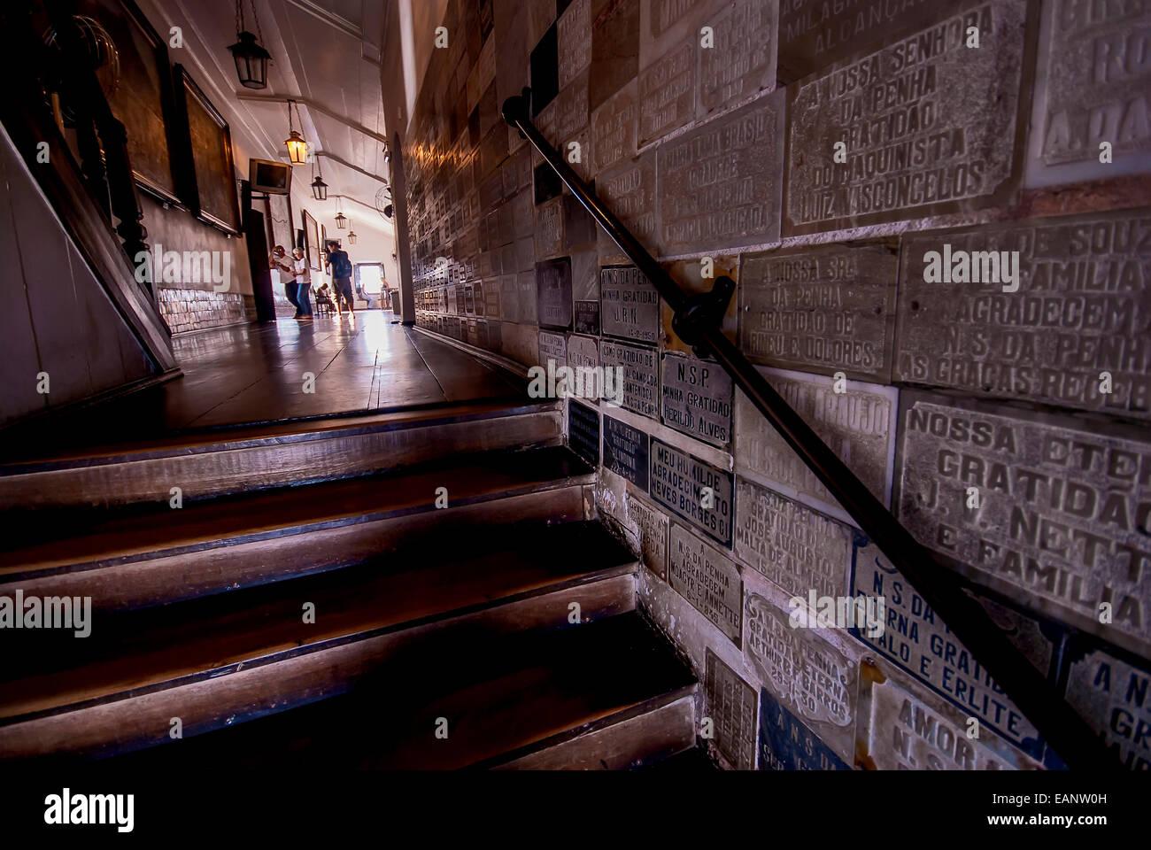 Placas de agradecimento no interior do Convento da Penha / Thank You signs inside the Penha Convent - Stock Image