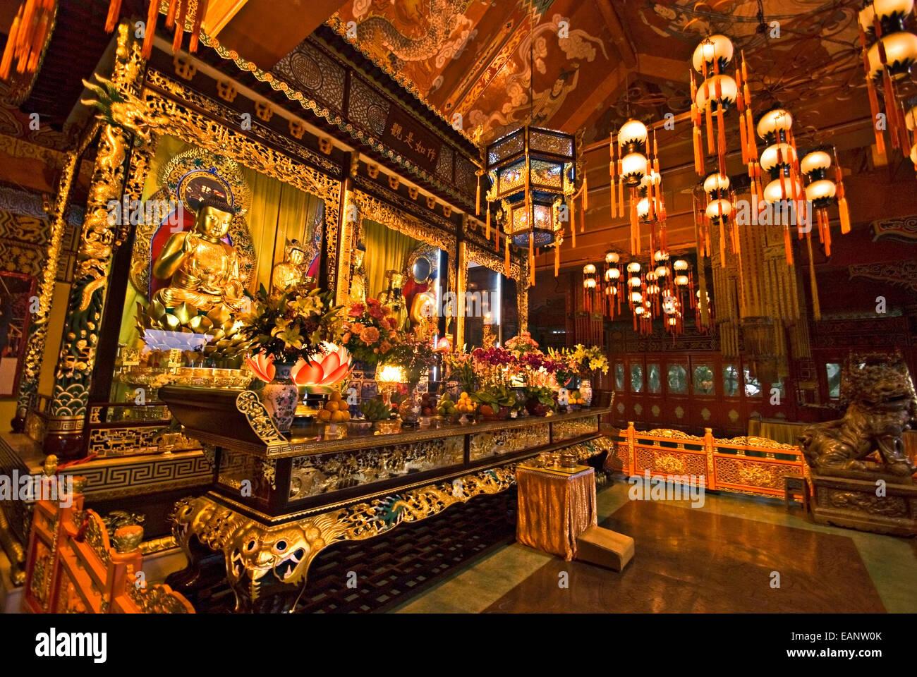 Altar inside the Tian Tan Buddha Temple located at Ngong Ping, Lantau Island, in Hong Kong. - Stock Image