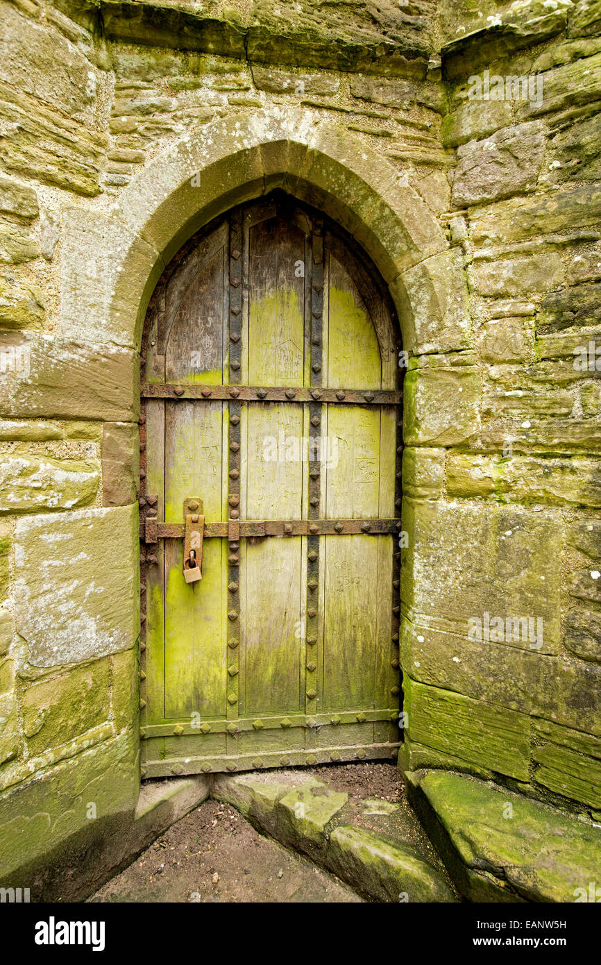Old arched wooden door, coated with green mould, surrounded by ancient stone walls at ruins of 12th century Tintern - Stock Image