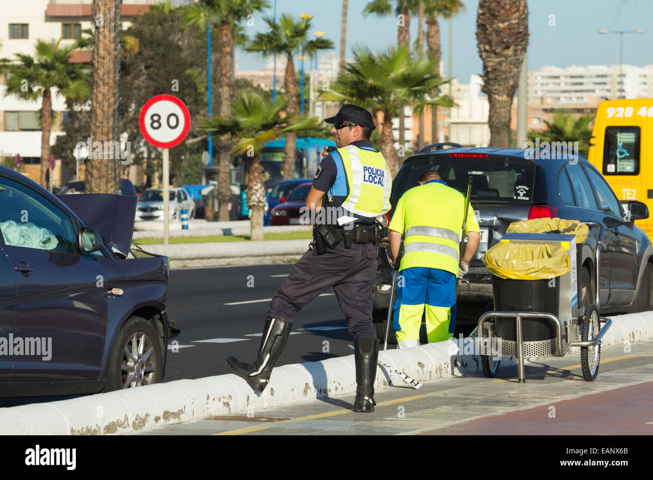 Spanish policeman at scene of road traffic accident in Las Palmas, Gran Canaria, Canary Islands, Spain - Stock Image
