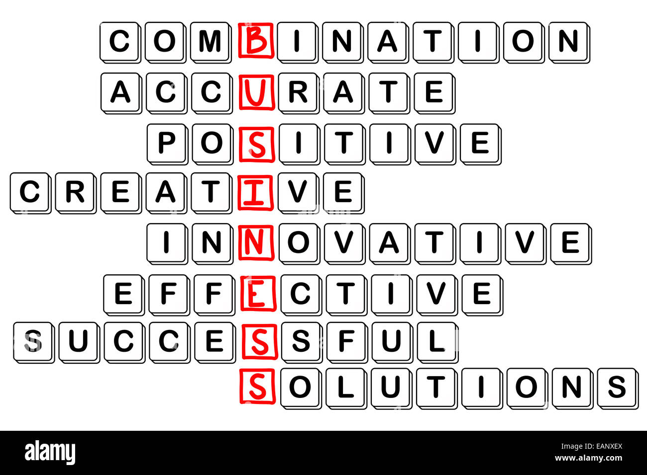 acronym concept of business -combinative,accura te,positive,creativ e,innovative,effect ive,cuccessful,solu tions, - Stock Image