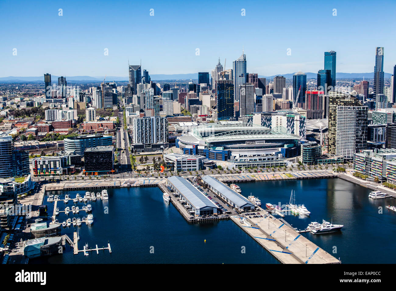 Aerial view of the Docklands in Melbourne including the CBD, Etihad Stadium and La Trobe Street - Stock Image