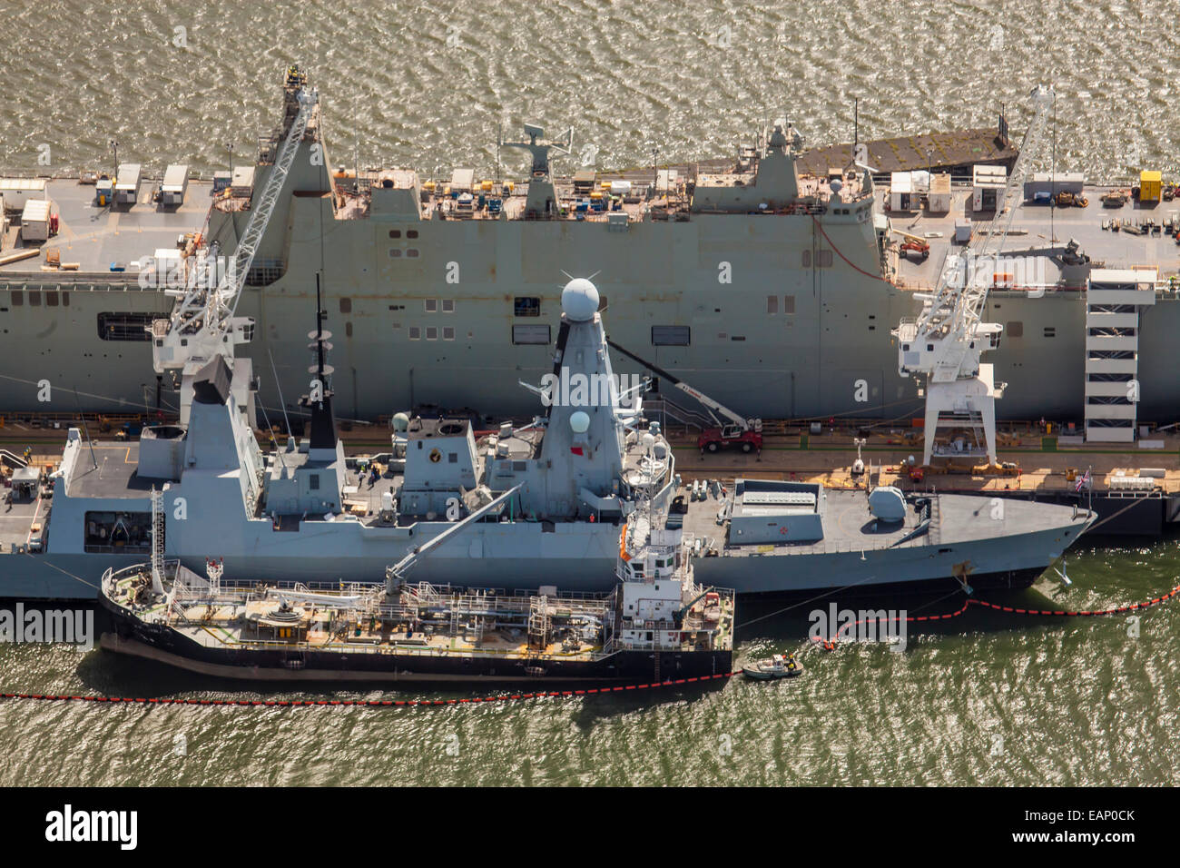 Aerial view of HMAS Canberra under construction in Williamstown, Melbourne. - Stock Image
