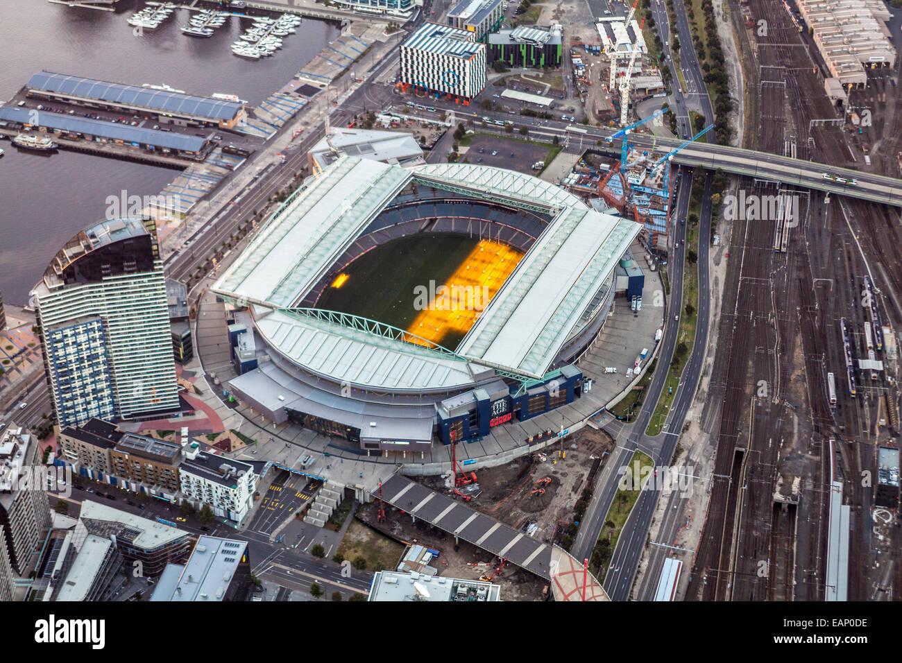 Aerial view at dusk of Etihad Stadium on Melbourne's Docklands. - Stock Image
