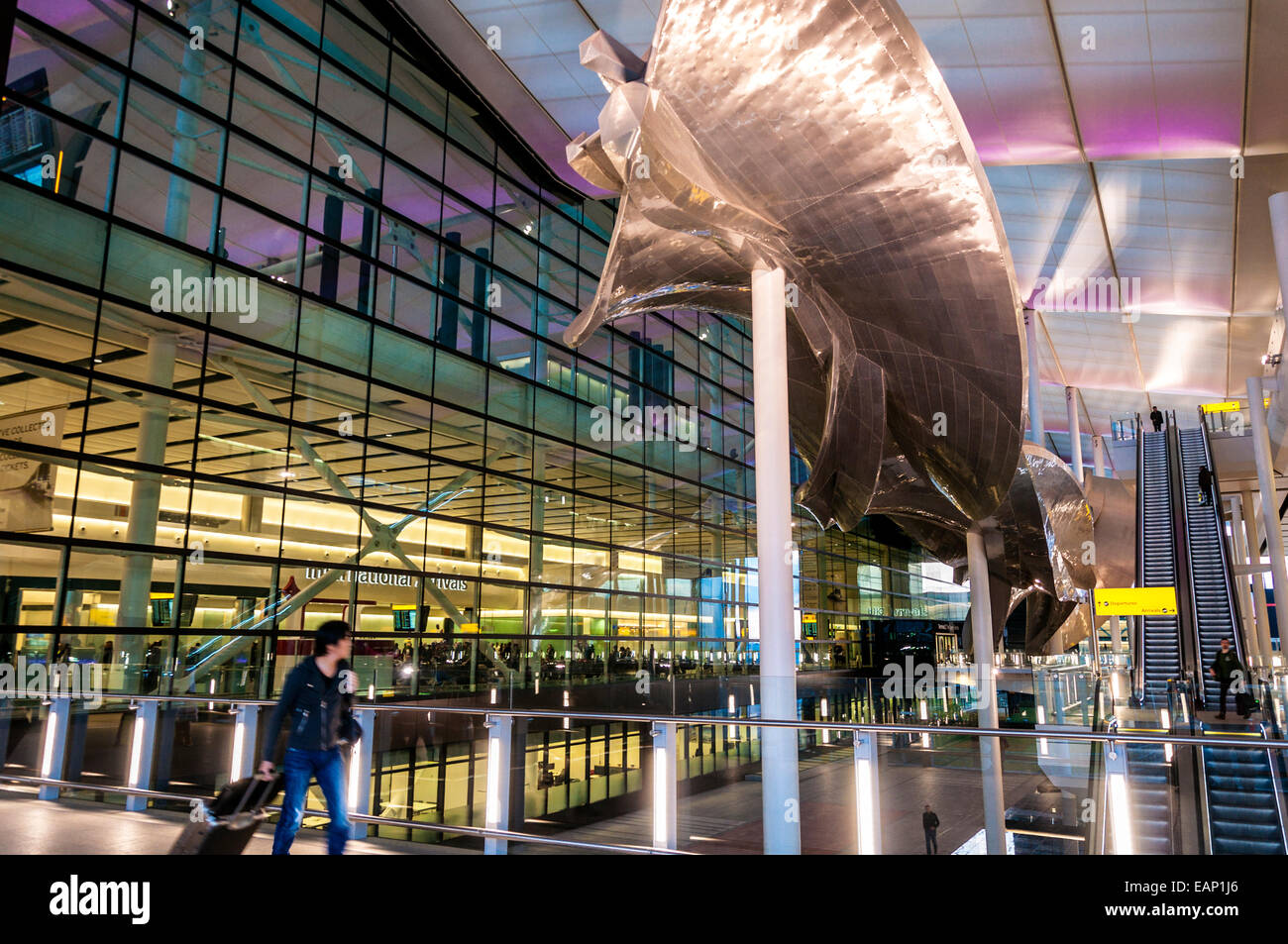 Terminal Two International Arrivals Departures hall at new terminal building at London Heathrow Airport - Stock Image