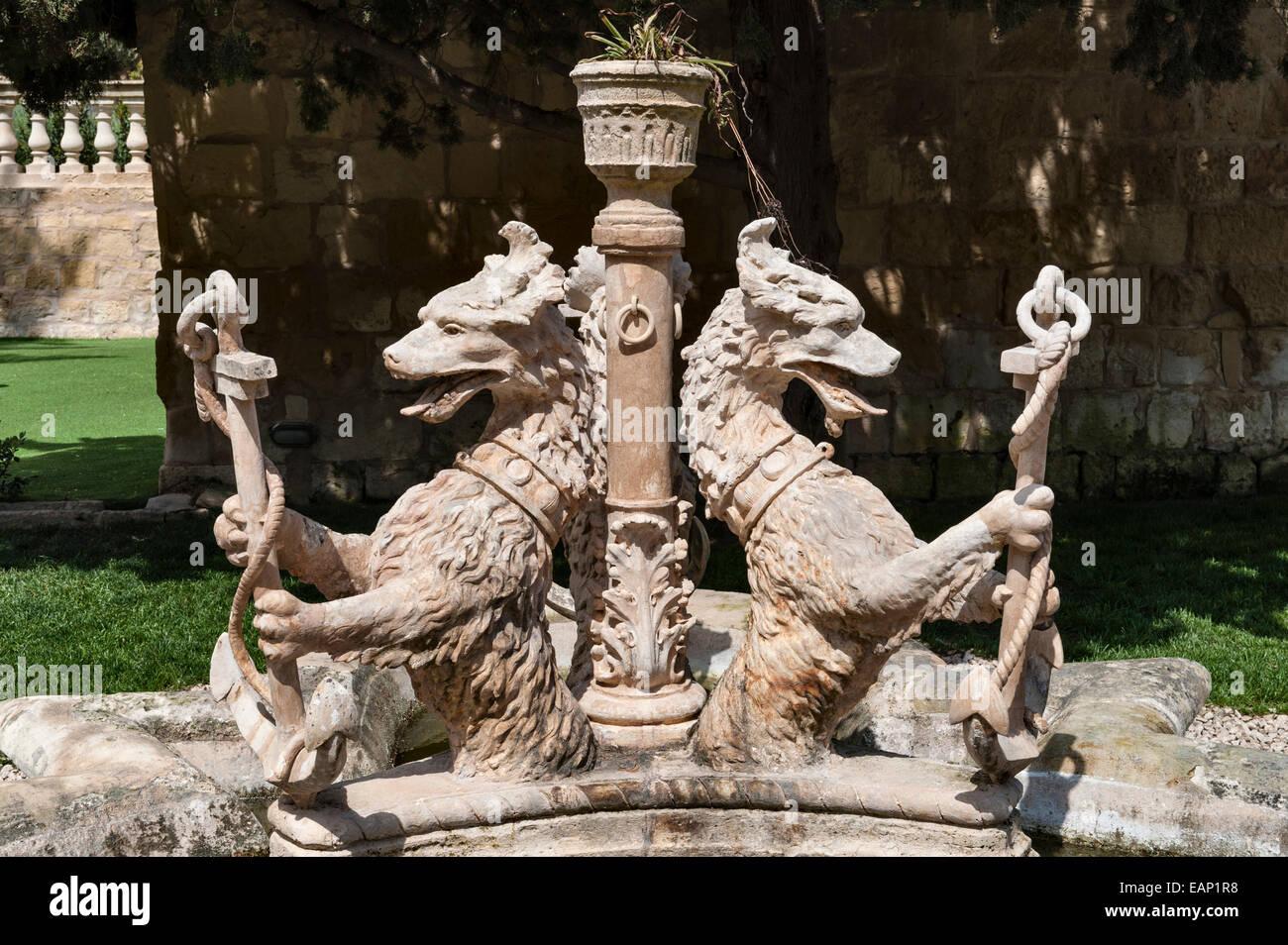 The President's Kitchen Garden, Attard, Malta. Fountain with heraldic beasts - Stock Image