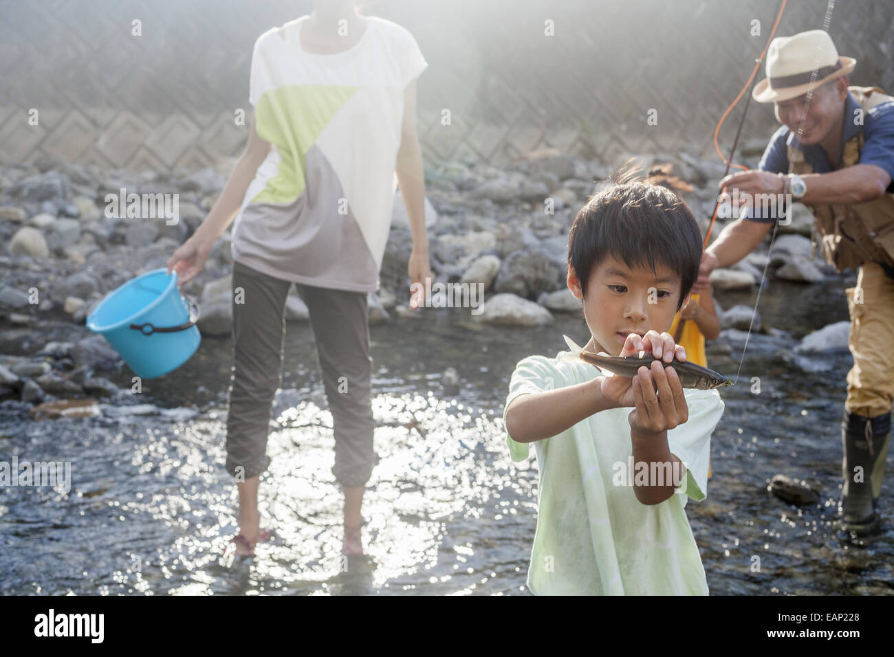 Family fishing in a stream. Stock Photo