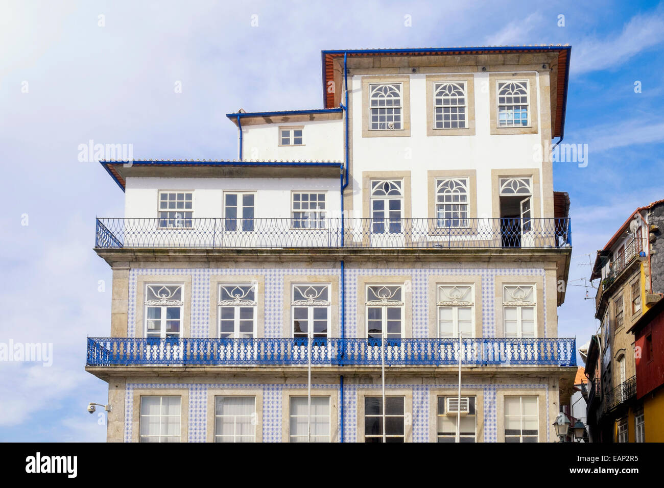 Old building in the Ribeira district of Oporto Portugal Europe - Stock Image