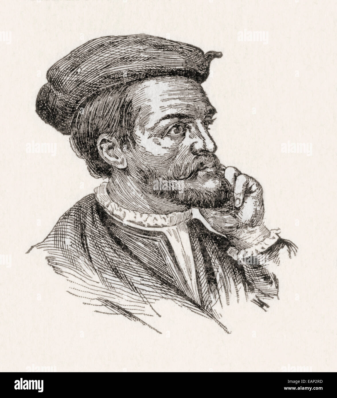 Jacques Cartier, 1491 – 1557.  French navigator and explorer. - Stock Image