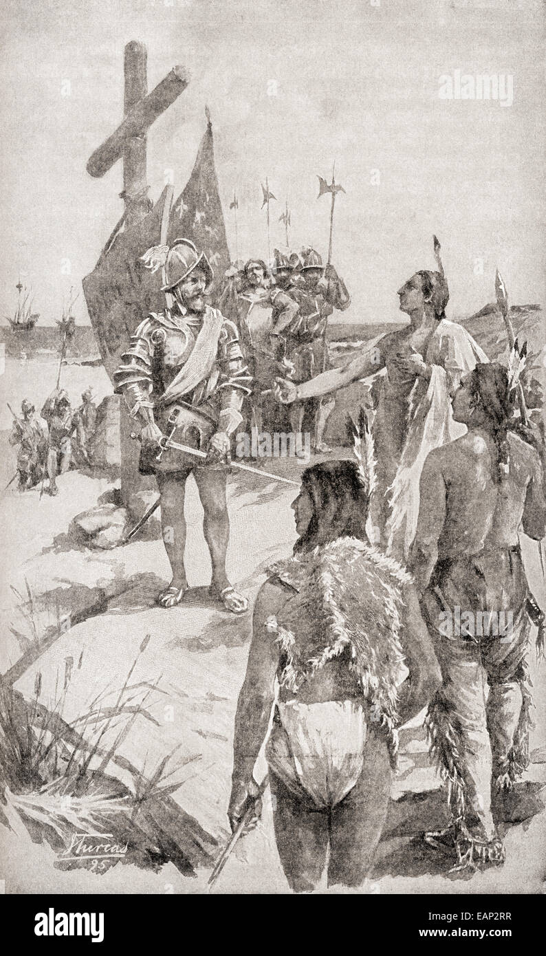 Jacques Cartier the French navigator and explorer 1491 – 1557, taking possession of the coast on the Gaspé - Stock Image