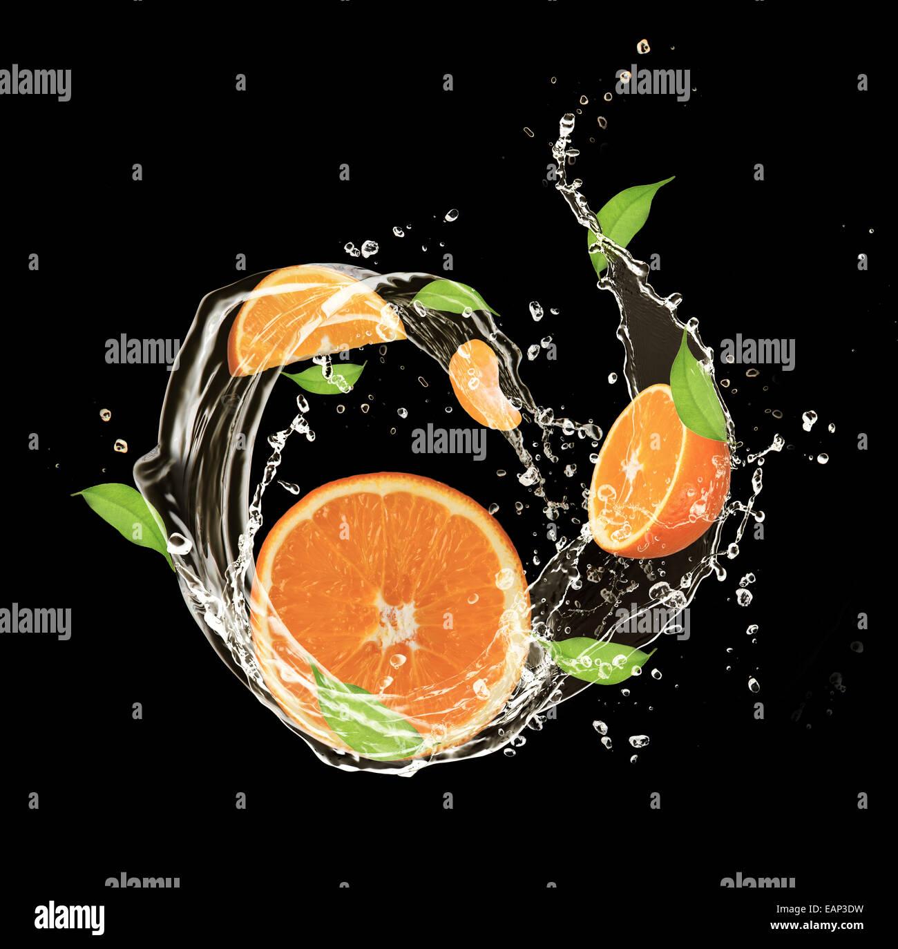 Fresh oranges in water splash, isolated on black background - Stock Image