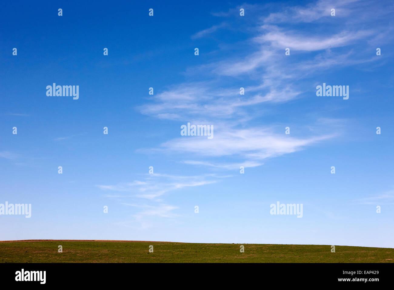 blue sky above prairie fields Saskatchewan Canada - Stock Image