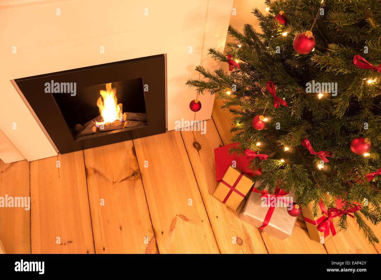 chimney and christmas tree topview - Stock Image