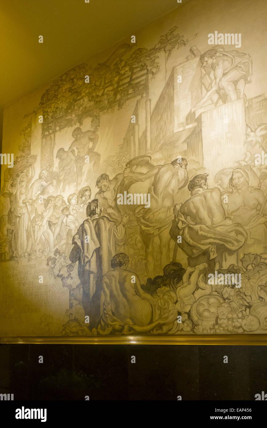 American Progress mural in Rockefeller center NYC Stock Photo ...