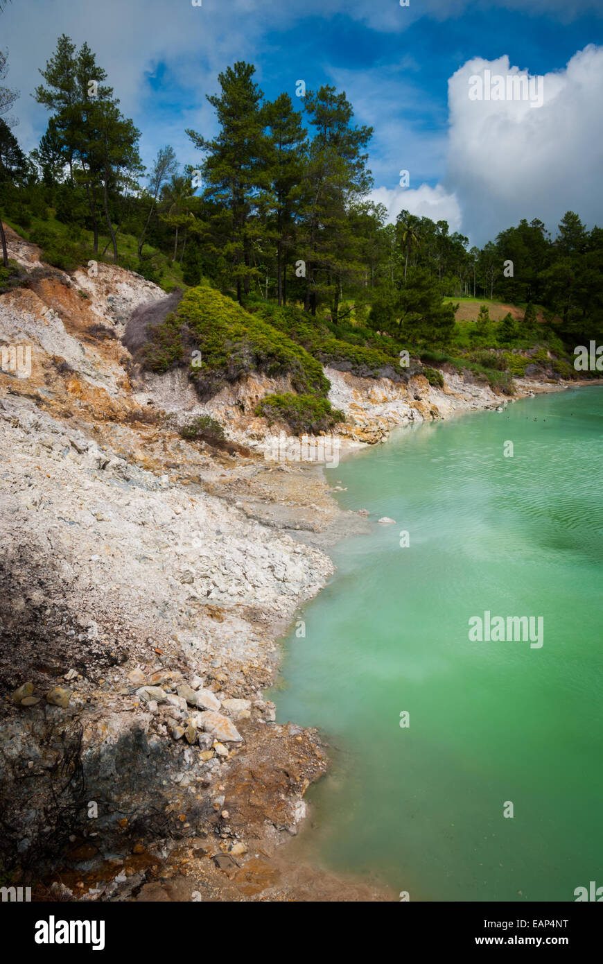 Linow Lake, a water-filled volcanic crater in North Sulawesi, Indonesia. - Stock Image