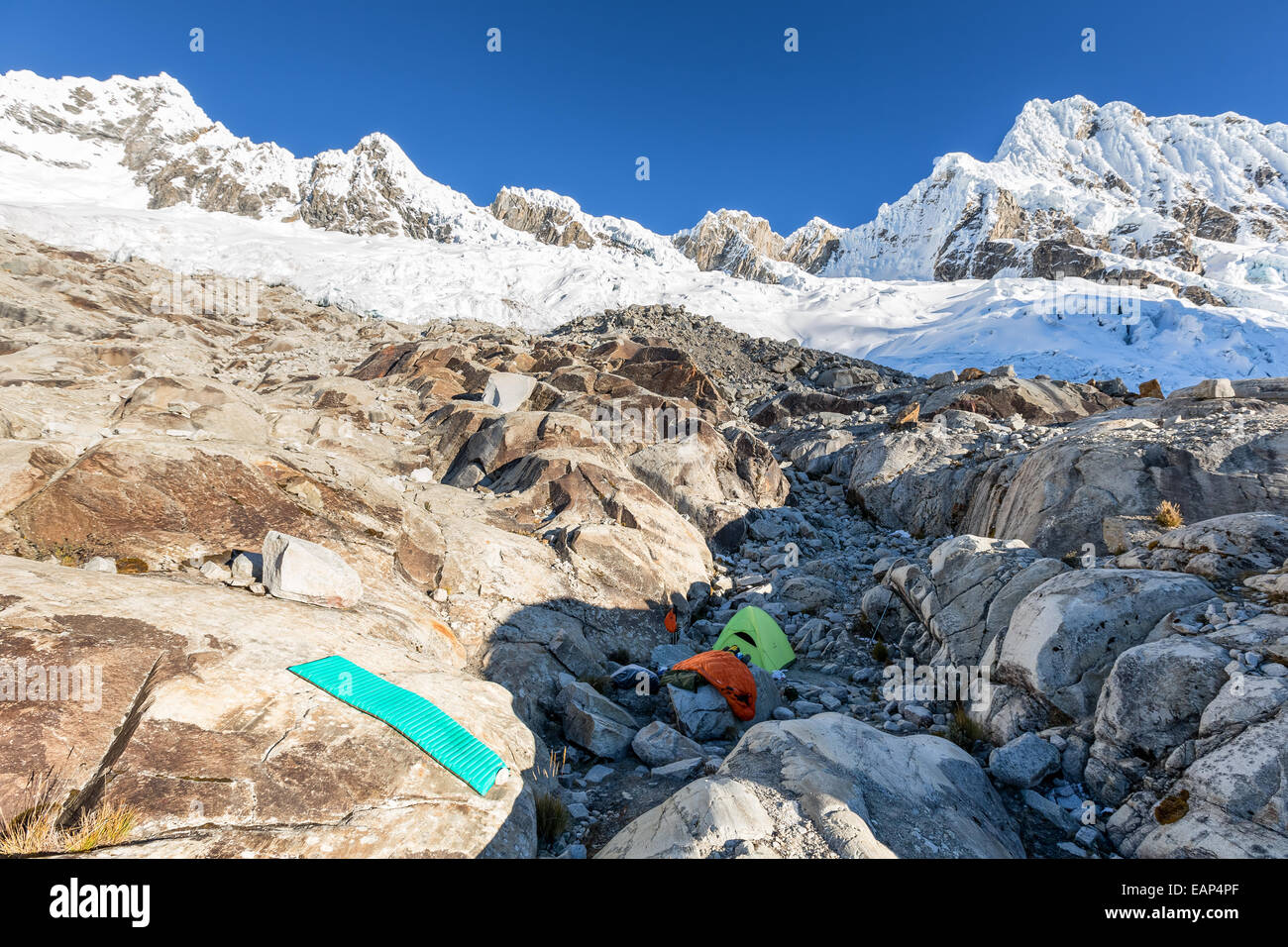 Alpamayo's Moraine camp, Santa Cruz valley, Andes, Peru, South America - Stock Image