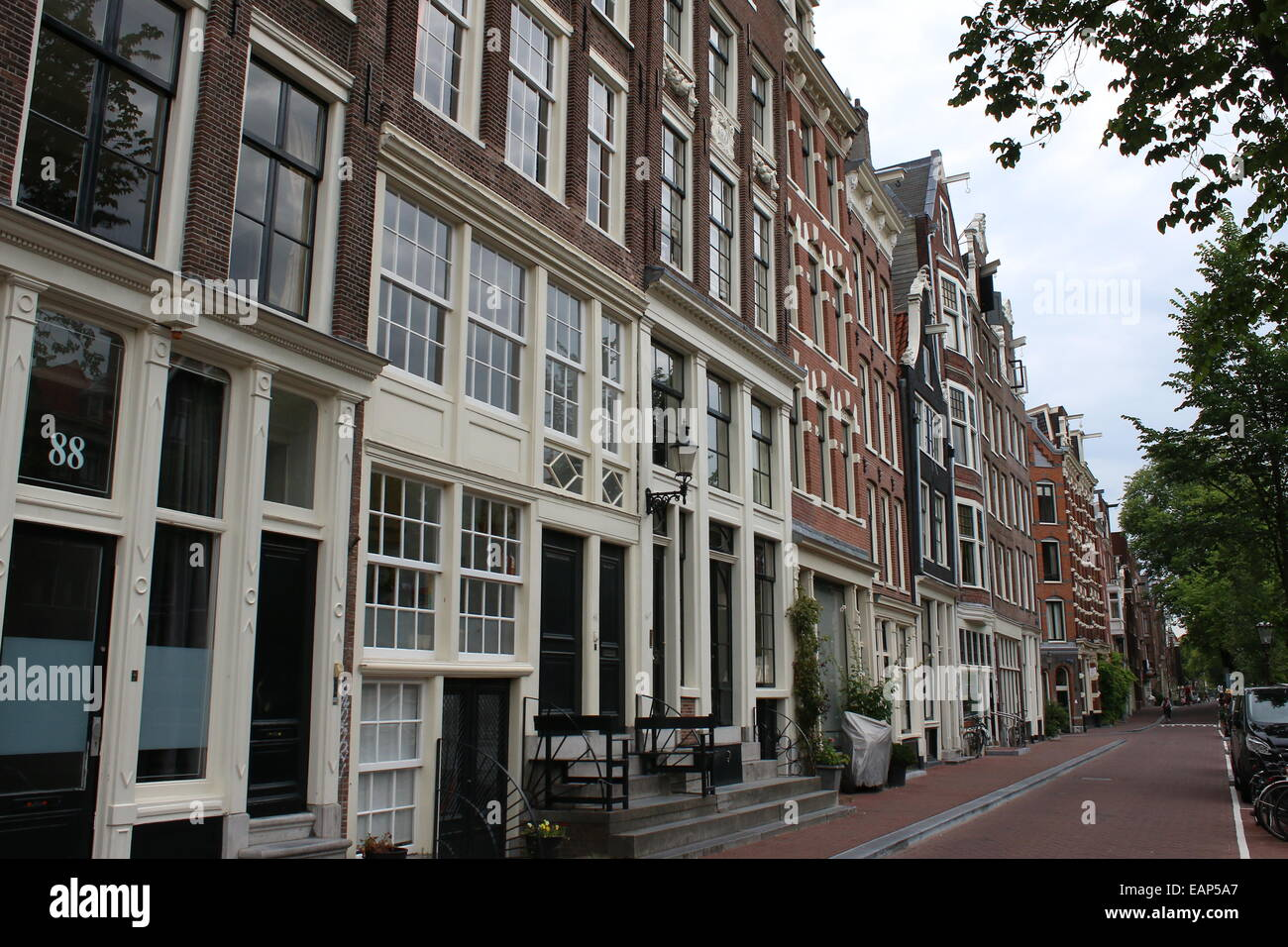 17th and 18th century mansions and warehouses at Prinsengracht canal  Amsterdam, the Netherlands - Stock Image