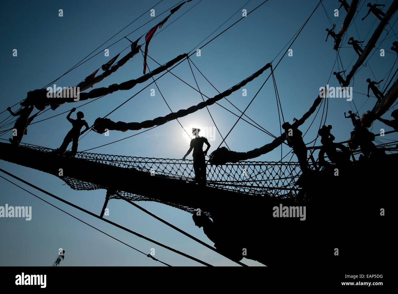 Indonesian navy cadets perform parade roll before the last sail of Dewaruci tall ship in 2012. Stock Photo