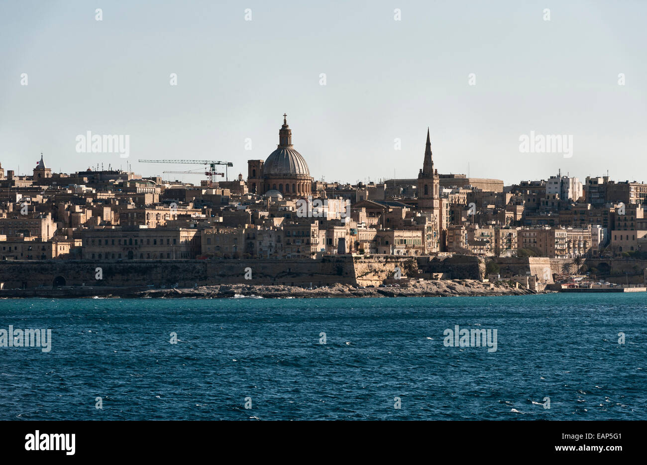 Kalkara, Malta, from the sea - at the entrance to the Grand Harbour, opposite Valletta - Stock Image
