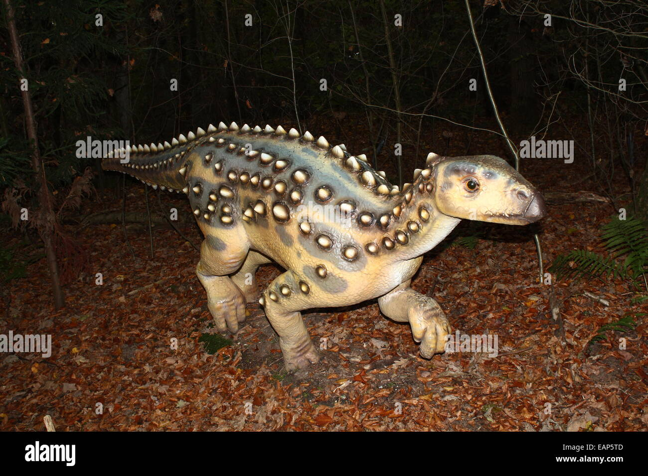 Model of a Jurassic era  Scelidodaurus.  Full-size and lifelike dino statue at  Dinopark Amersfoort Zoo, The Netherlands Stock Photo
