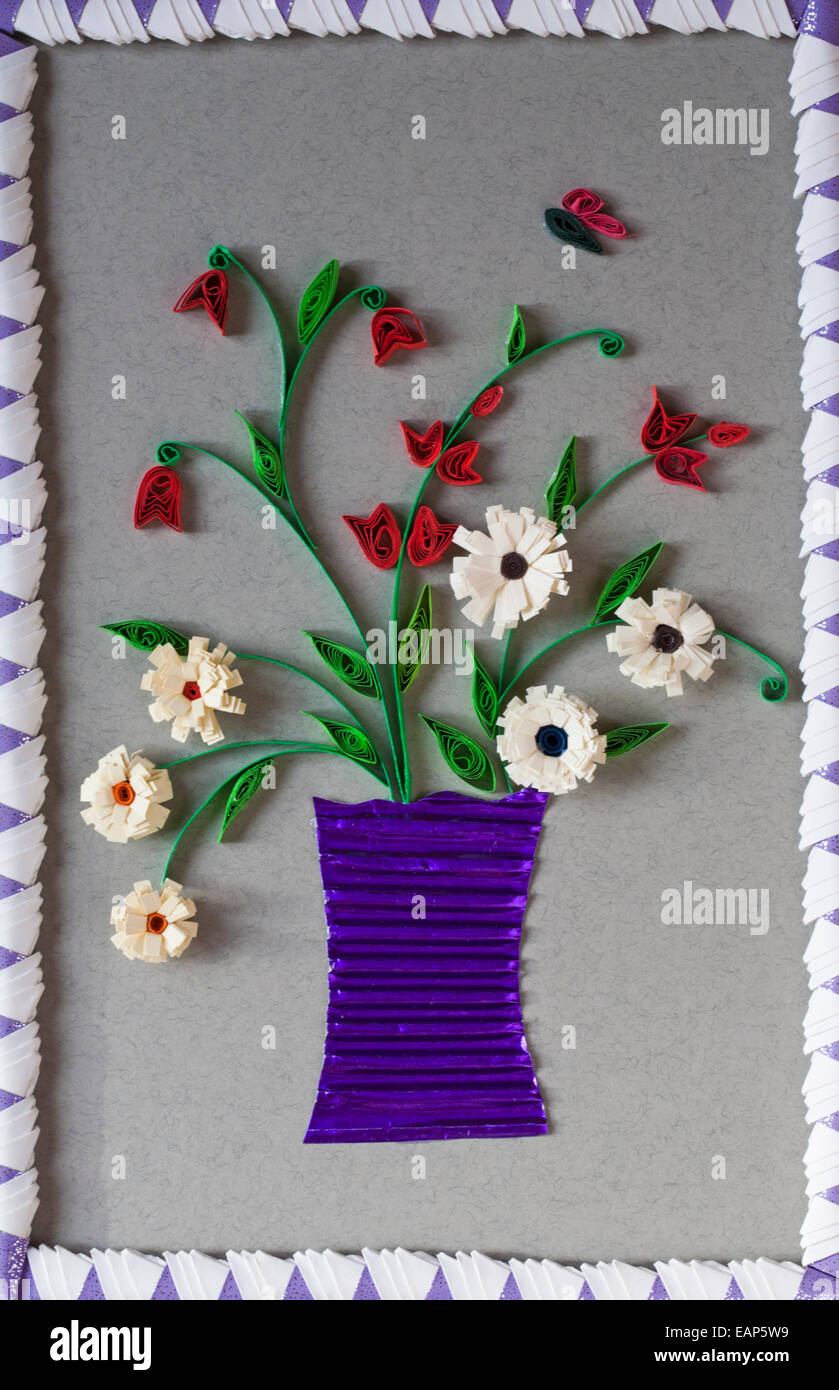 Paper quilling flowers stock photos paper quilling flowers stock paper quilling vase of flowers on handcrafted picture with origami frame stock image mightylinksfo