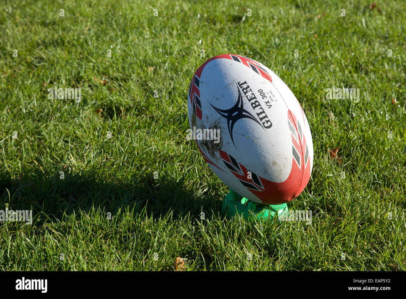 A Gilbert Rugby Ball On A Kicking Tee Stock Photo Alamy