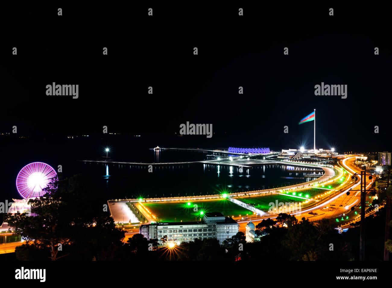 Baku panorama with highland park night view - Stock Image