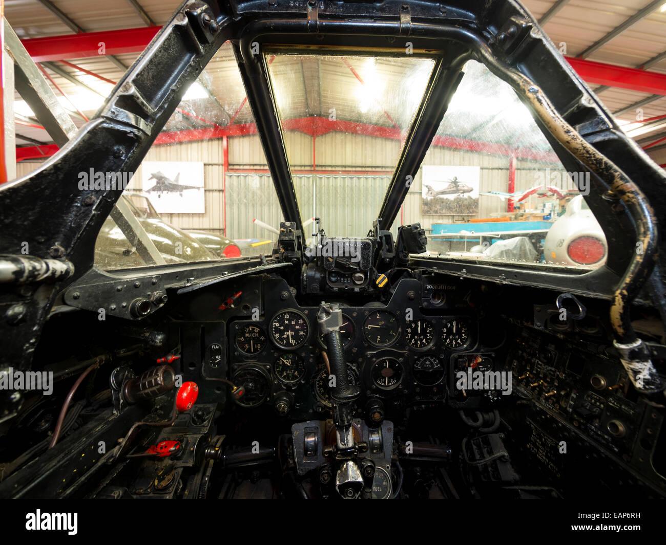 cockpit of a 1950s vintage RAF Meteor jet fighter - Stock Image