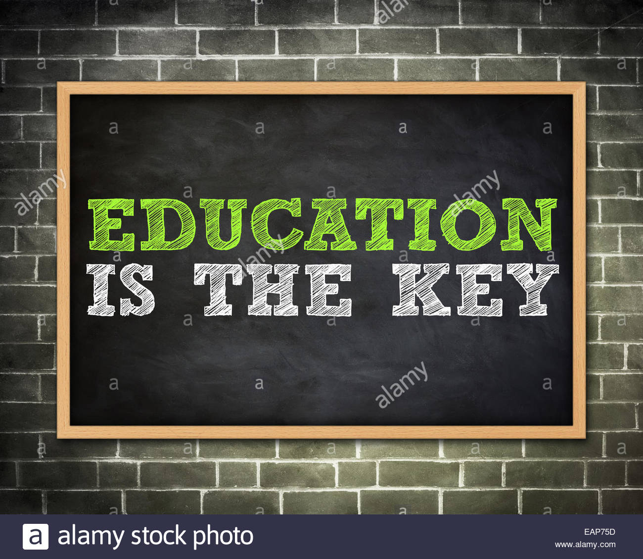 EDUCATION IS THE KEY - blackboard concept - Stock Image