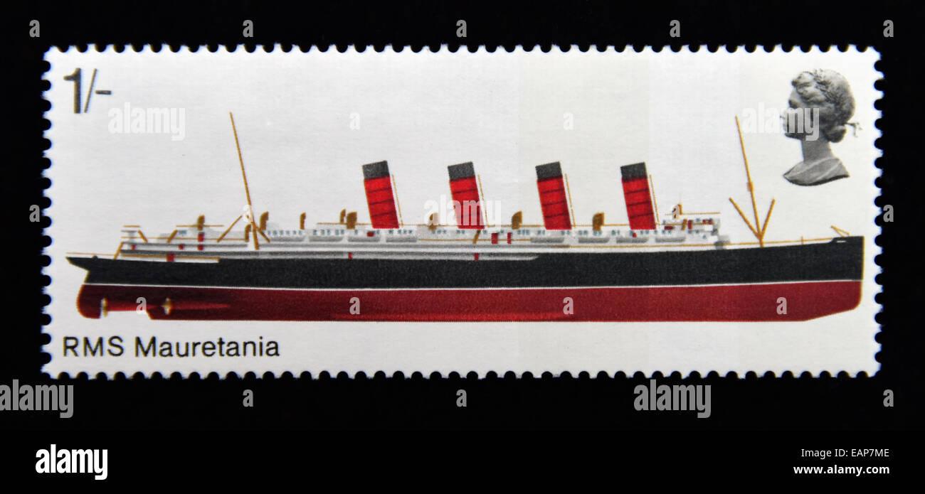 Postage stamp. Great Britain. Queen Elizabeth II. British Ships. 1969. RMS Mauretania. 1/-. - Stock Image