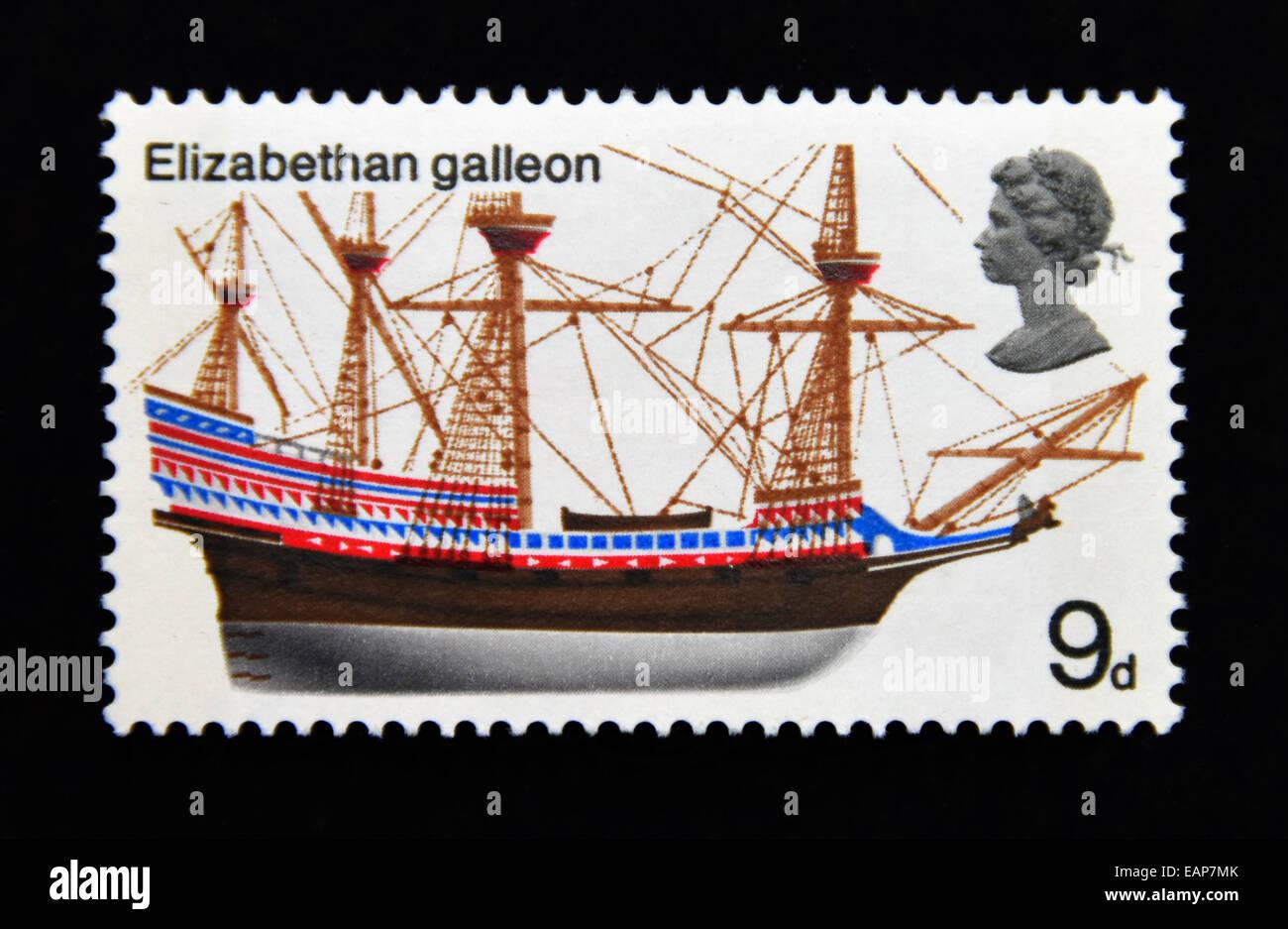 Postage stamp. Great Britain. Queen Elizabeth II. British Ships. 1969. Elizabethan galleon. 9d. - Stock Image
