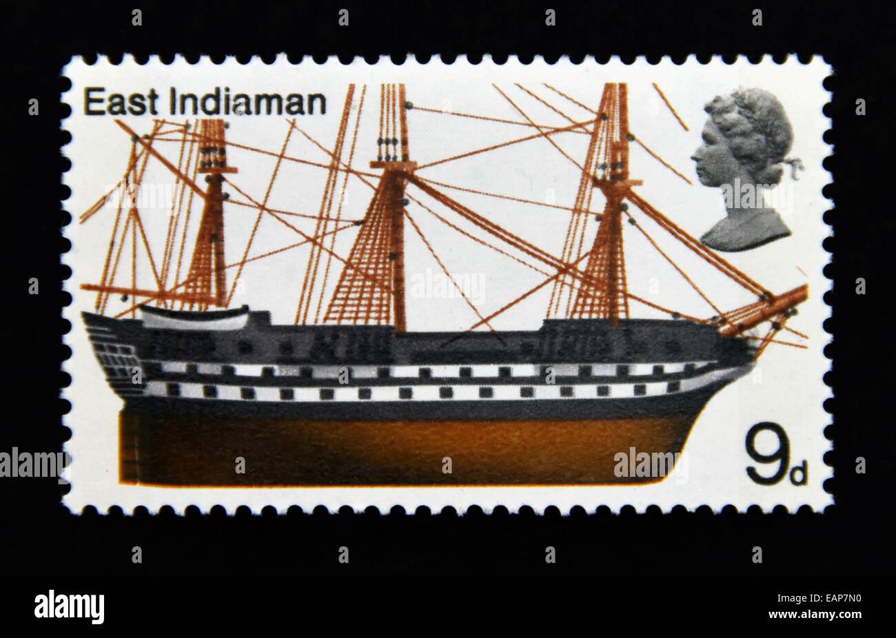 Postage stamp. Great Britain. Queen Elizabeth II. British Ships. 1969. East Indiaman. 9d. - Stock Image