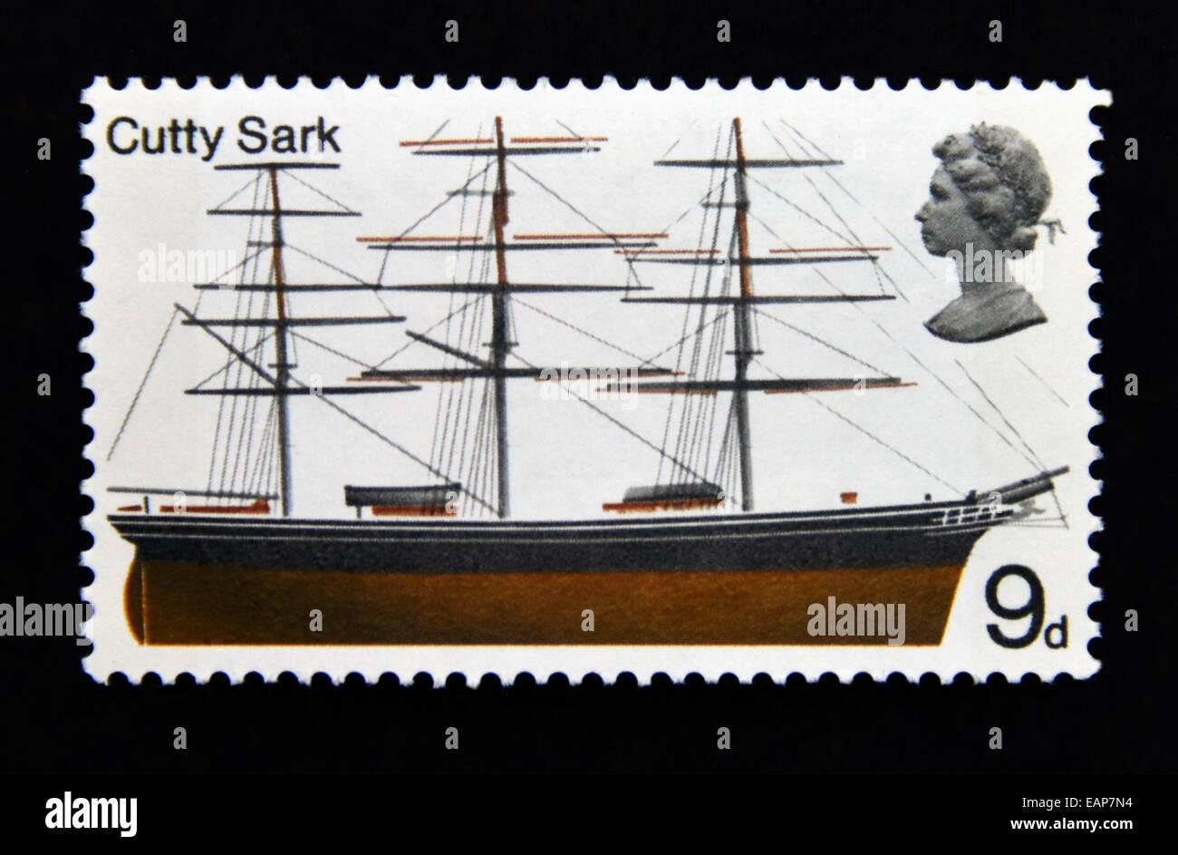 Postage stamp. Great Britain. Queen Elizabeth II. British Ships. 1969. Cutty Sark. 9d. - Stock Image
