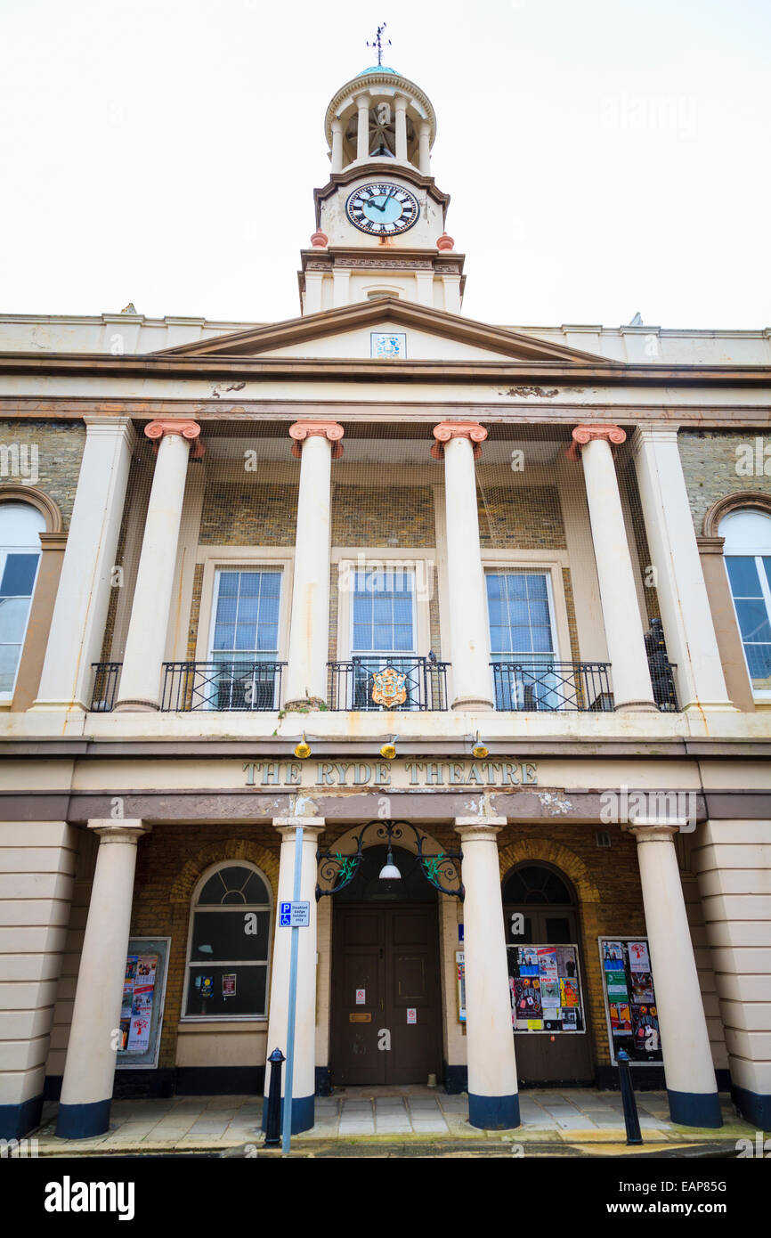 Exterior of the Ryde Theatre with clock tower on the Isle of Wight Stock Photo