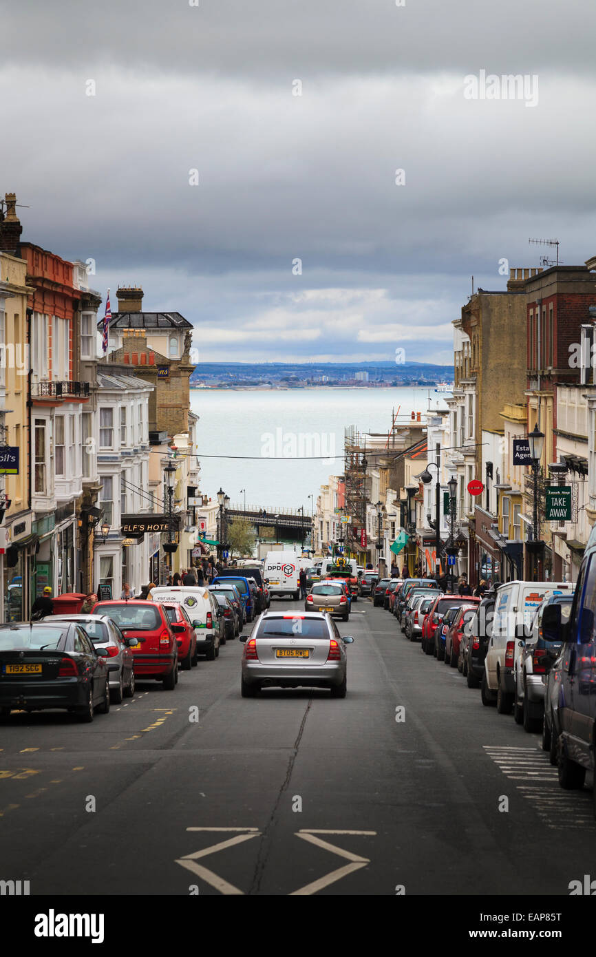 Looking down Union Street Ryde Isle of Wight towards the sea Stock Photo