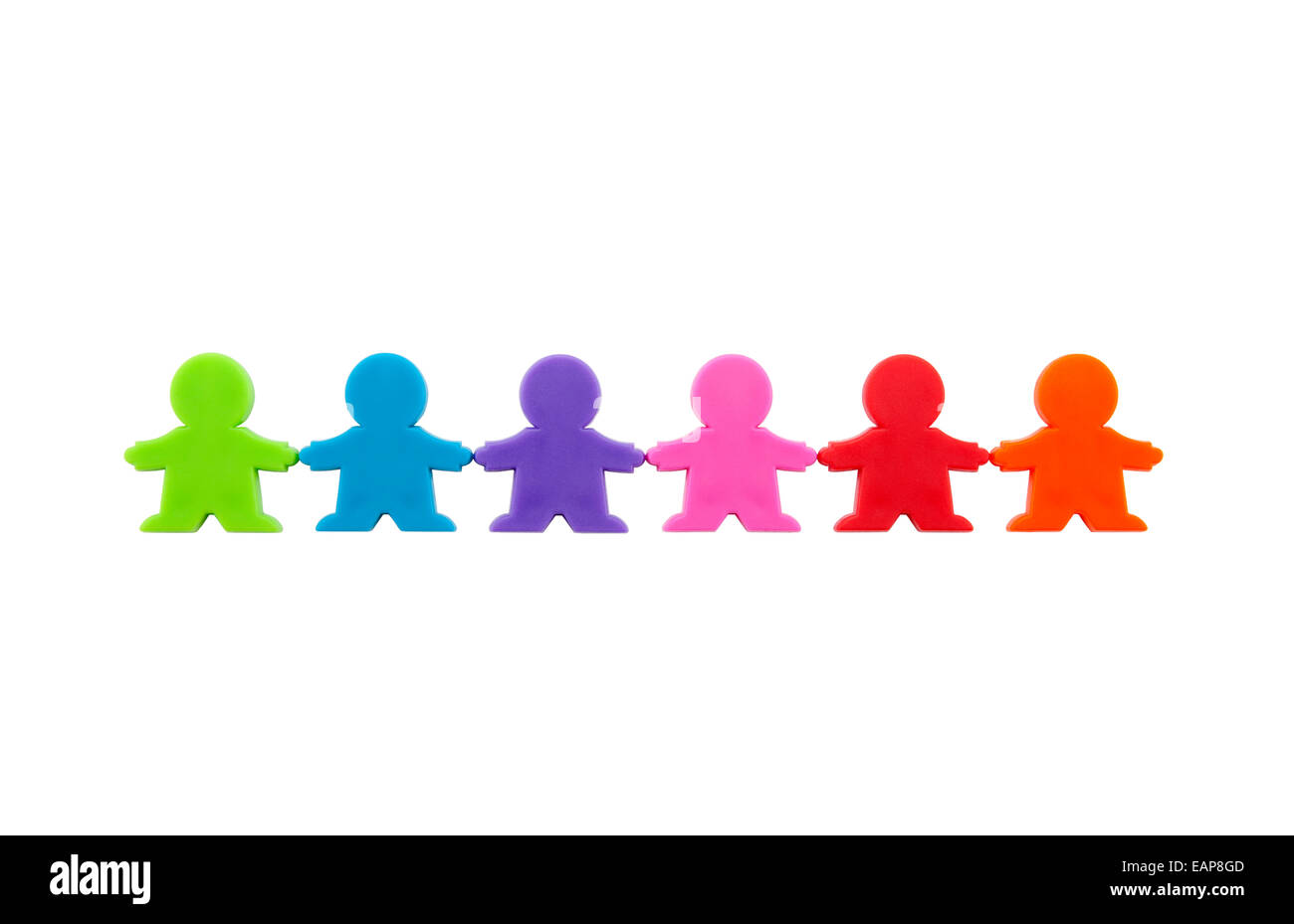Colorful people figures standing in a row with clipping path. - Stock Image