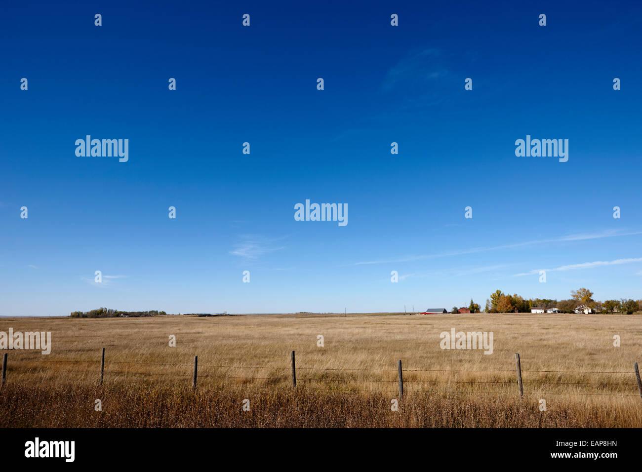 rural prairie grassland and farmland in open fields bengough Saskatchewan Canada - Stock Image