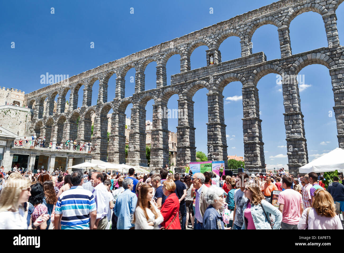 Music festival at the Roman Aqueduct. - Stock Image