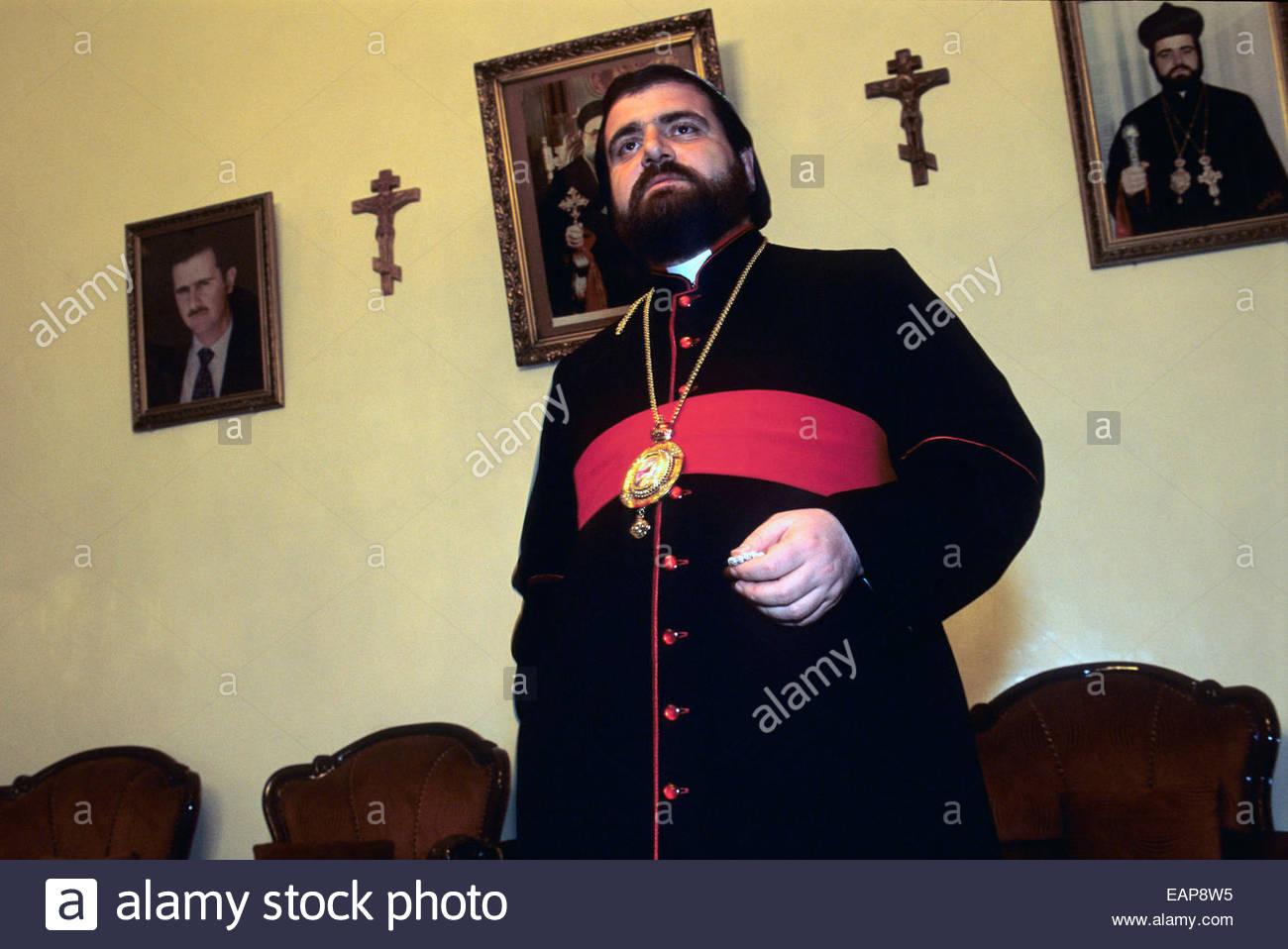 Syriac orthodox eveque Selvanos Boutros Al Nemeh at Homs, Syria. - Stock Image