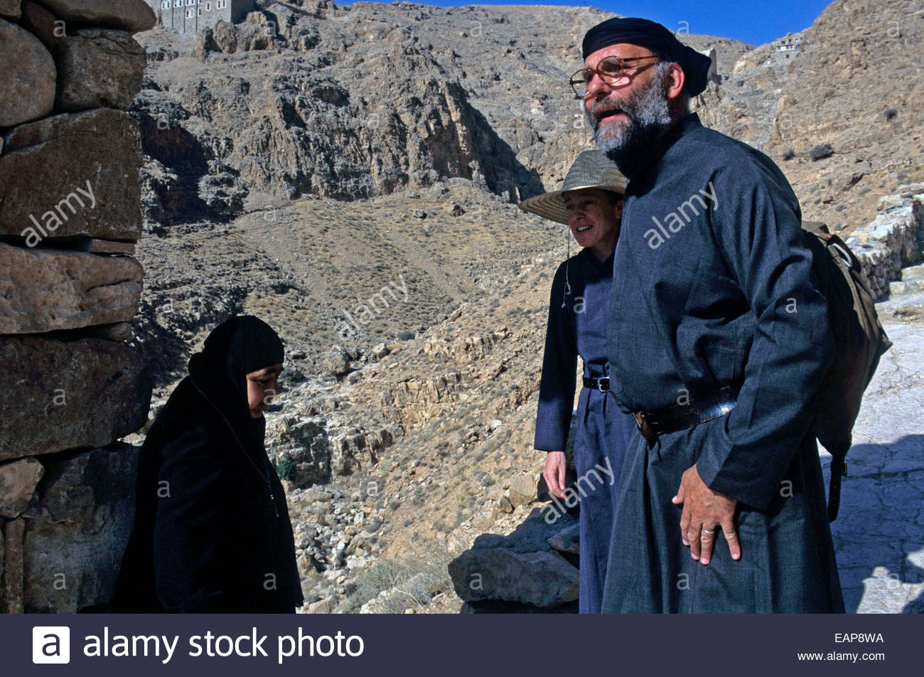 Jesuit father Paolo in front of the Mar Mousa monastery, Syria. - Stock Image