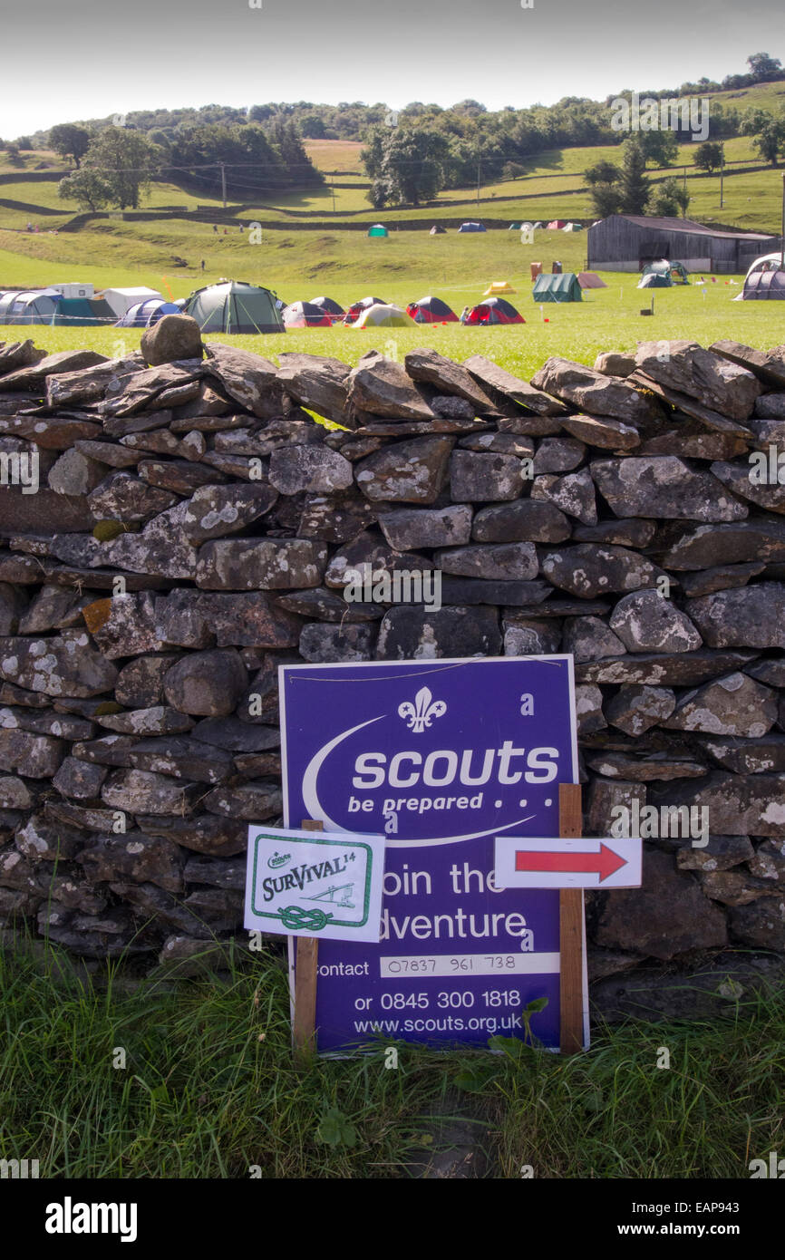 A Scout survival camp at Austwick in the Yorkshire Dales, UK. - Stock Image