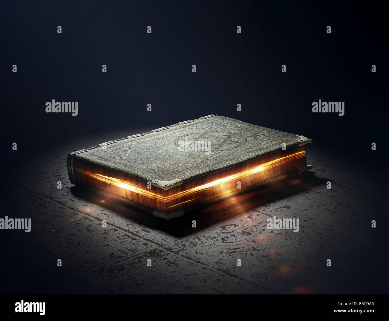 Magic Book with super powers - 3D Artwork - Stock Image